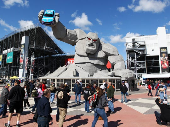 A view of the Miles the Monster statue prior to the AAA 400 Drive For Autism at Dover International Speedway.