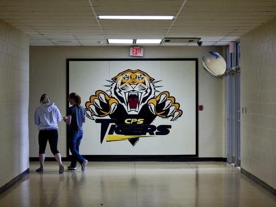 Students walk through a hallway at Carsonville-Port Sanilac High School.