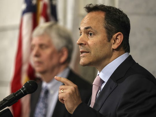 Kentucky Gov. Matt Bevin outlined  his proposed changes to the state's Medicaid plan at a 2016 news conference.