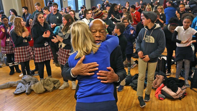 Congressman John Lewis, right, hugs Kerry Kennedy, daughter of Robert Kennedy, at their event talking with kids at the 16 Park Community Center, Wednesday, April 4, 2018.  The Congressman joined Kennedy, Mayor Joe Hogsett, and other dignitaries for a day of activities for the remembrance of the Robert Kennedy speech in Indianapolis the night after Martin Luther King Jr. was assassinated.