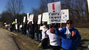 Dozens of people protested outside of the Calvary Temple