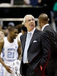North Carolina coach Roy Williams looks upward in the