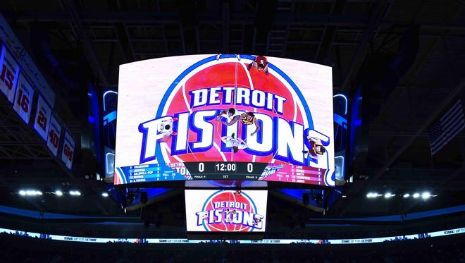 A view of the Palace of Auburn Hills video screen before Pistons tip-off.