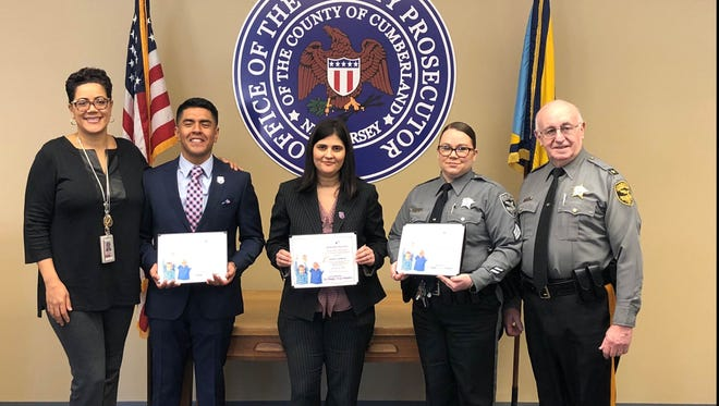 """Big Brothers Big Sisters of Cumberland & Salem Counties recognized law enforcement volunteers on """"Thank a Mentor Day,"""" Jan. 25, during National Mentor Month. Those present for the recognition were: (from left) Cumberland County Prosecutor Jennifer Webb-McRae; Big Brother, Det. Harvey Calixto; Big Sister, Lt. Jasmin Calderon; and Big Sister, Sgt. Elizabeth Hauffman; along with Sheriff Robert Austino, from the Cumberland County Sheriff's Department."""
