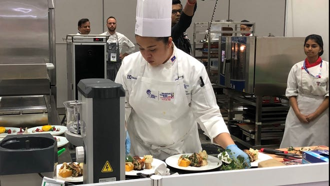 Young chef, Jasmine Nadres, during the Hans Bueschkens Young Chefs Challenge in the World Chefs Congress and Expo, from July 11 to 14, 2018.