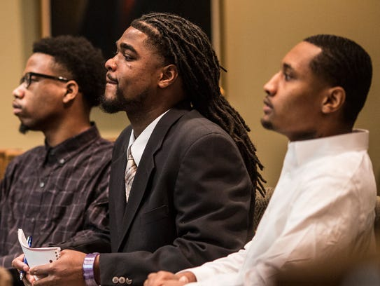 December 12, 2017 - From left, Branden Brookins, Carlos Stokes, and Jordan Clayton, inside of Judge James Lammey's courtroom
