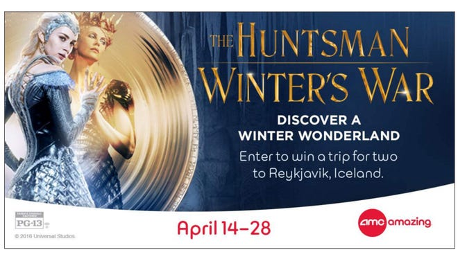 "To celebrate the upcoming movie premiere of ""The Huntsman: Winter's War,"" AMC Theatres is hosting a contest for a free trip to Iceland."