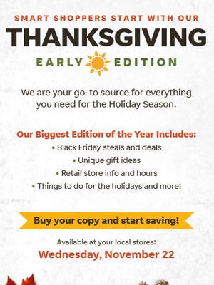 Treasure Coast Newspapers' Thanksgiving Day edition will be available early.