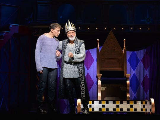 """Brian Flores, grandson of La Quinta resident Tom Flores, is expected to return to the production at the McCallum in the title role of """"Pippin."""" He's seen above with original Broadway star John Rubinstein, playing Charlemagne."""