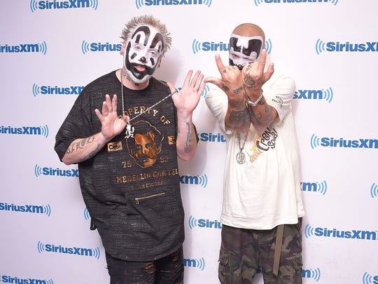 Violent J, left, and Shaggy 2 Dope of Insane Clown Posse visit SiriusXM Studios on September 14, 2017 in New York City.