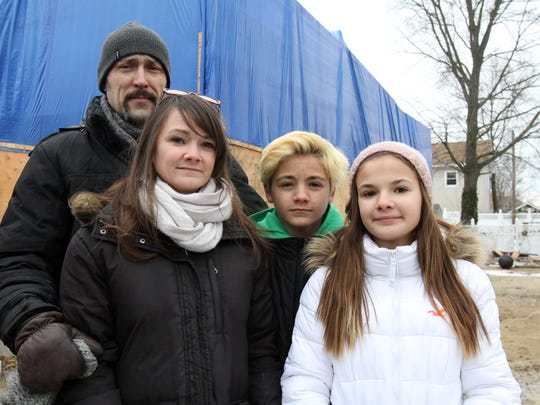 "Mike Irwin, Krista Sperber and her two children, Jack, 14, and Maisie, 12, who are still not home since Sandy, attended a news conference last month to announce the ""Home By Summer"" fundraiser for Belmar families displaced by superstorm Sandy."