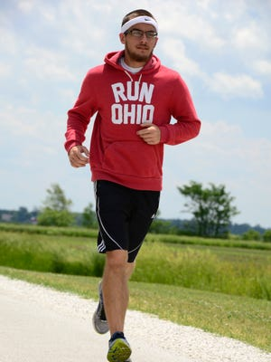 Tyler Aldrich, who is running from Fremont to Cincinnati, will begin his 220-mile run at the Camelback Race on Saturday.