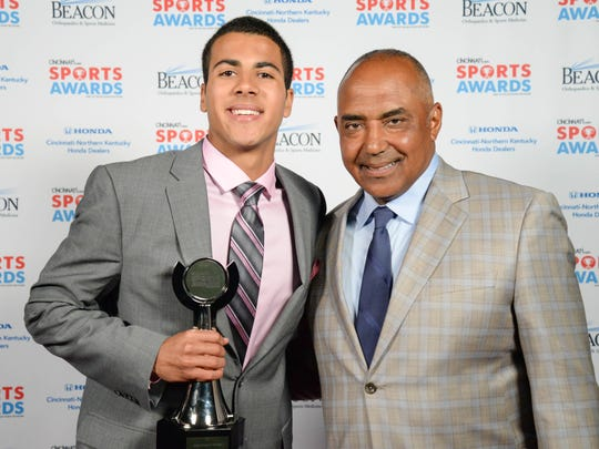 Dante Hendrix, of Cooper High School and Boys Athlete of the Year, with Bengals Head Coach Marvin Lewis during the 2017 Cincinnati.com Sports Awards at the Aronoff Center Monday May 22, 2017.