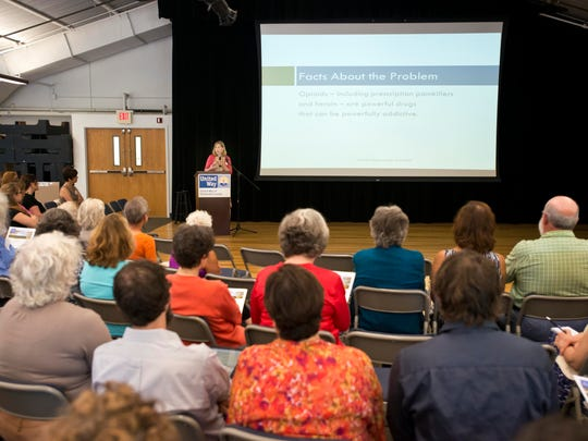 Barbara Cimaglio, Vermont's deputy health commissioner, speaks during a public forum on opiate addiction hosted by the United Way of Chittenden County at the Vermont Commons School in South Burlington on Tuesday.