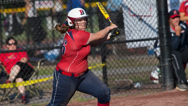 Elena Shelepak hits an RBI single in Binghamton's 4-1 win over Orchard Park in the Class AA final June 5. Shelepak also gave the Patriots a power boost with a homer in a 1-0 victory over Middletown earlier in the state tournament.