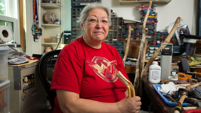 Binghamton artist Thea Whirlwindhorse, 58, creates her work in a variety of formats including drawings, sculptures, woodcarvings, jewelry and beadwork.