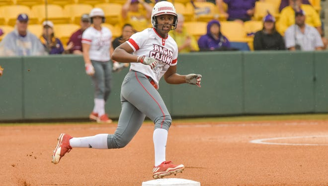 Former UL outfielder Aleah Craighton, who is transferring to Arizona, rounds second during her final regional as a member of the Ragin' Cajuns in May.
