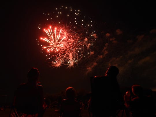Crowds gathered at Geller Park in Heath to enjoy fireworks in celebration of Independence Day on Monday, July 2, 2018.
