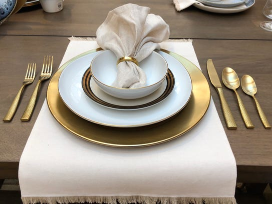 Metallic place setting from West Elm