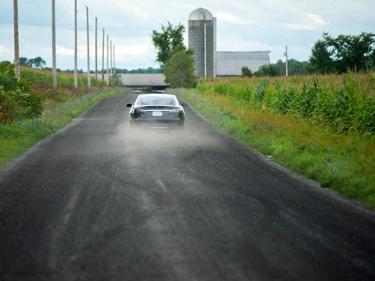 The Tesla Model S 85 executes some quick turns on gravel during a test drive in Ferrisburgh.