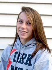 Hali Flickinger poses wearing a York YMCA sweatshirt in this 2011 photo.