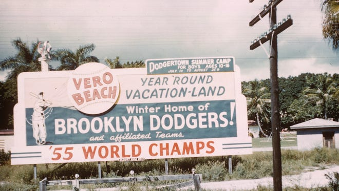 Billboard honoring the 1955 world champion Brooklyn Dodgers.