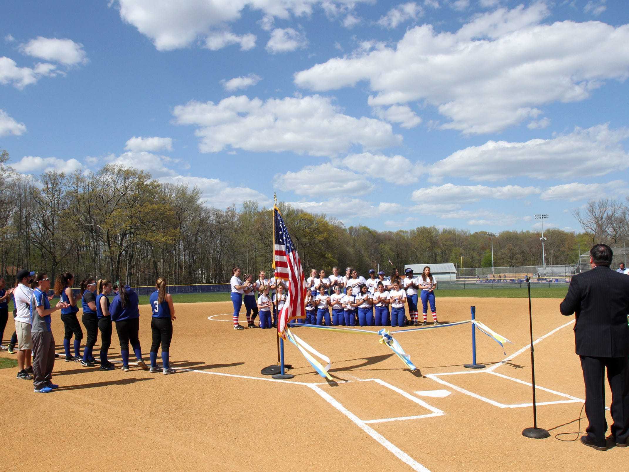 A ribbon cutting occurred at the new softball fields at North Brunswick High School where the Raiders of North Brunswick took on the Ramblers of Carteret High School on Wednesday, April 29, 2015.