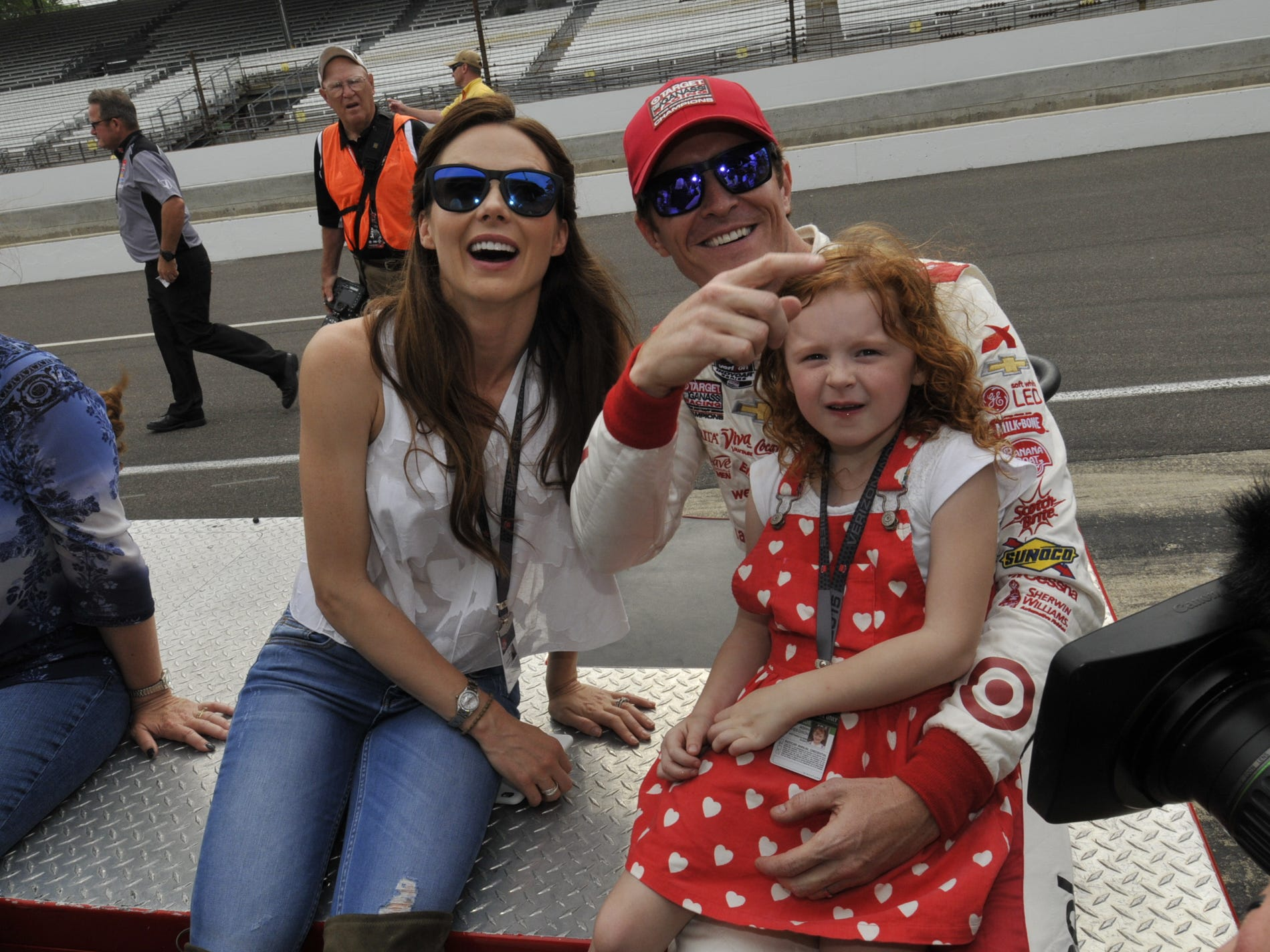 Emma, Scott, and Poppy Dixon celebrate winning Scott Dixon's winning the pole for the Indianapolis 500 on Sunday May17th, 2015.