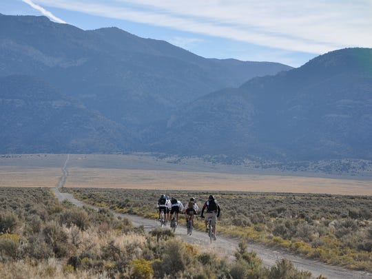 A group of riders in Nevada's White River Valley, which is located on the Comstock EPIC bikepacking course.