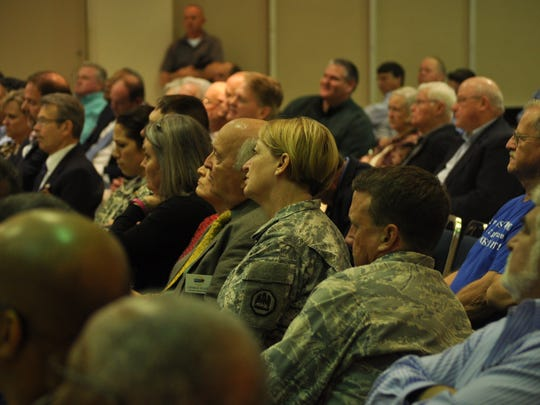 Members of the military were among those attending the Army Listening Session on Fort Polk meeting in Alexandria on Tuesday.