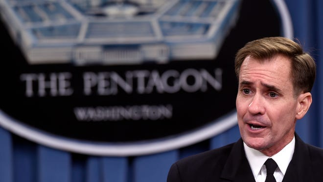 Navy Rear Adm. John Kirby, Pentagon press secretary, speaks during a briefing in Washington, D.C., Tuesday, Sept. 2, 2014.