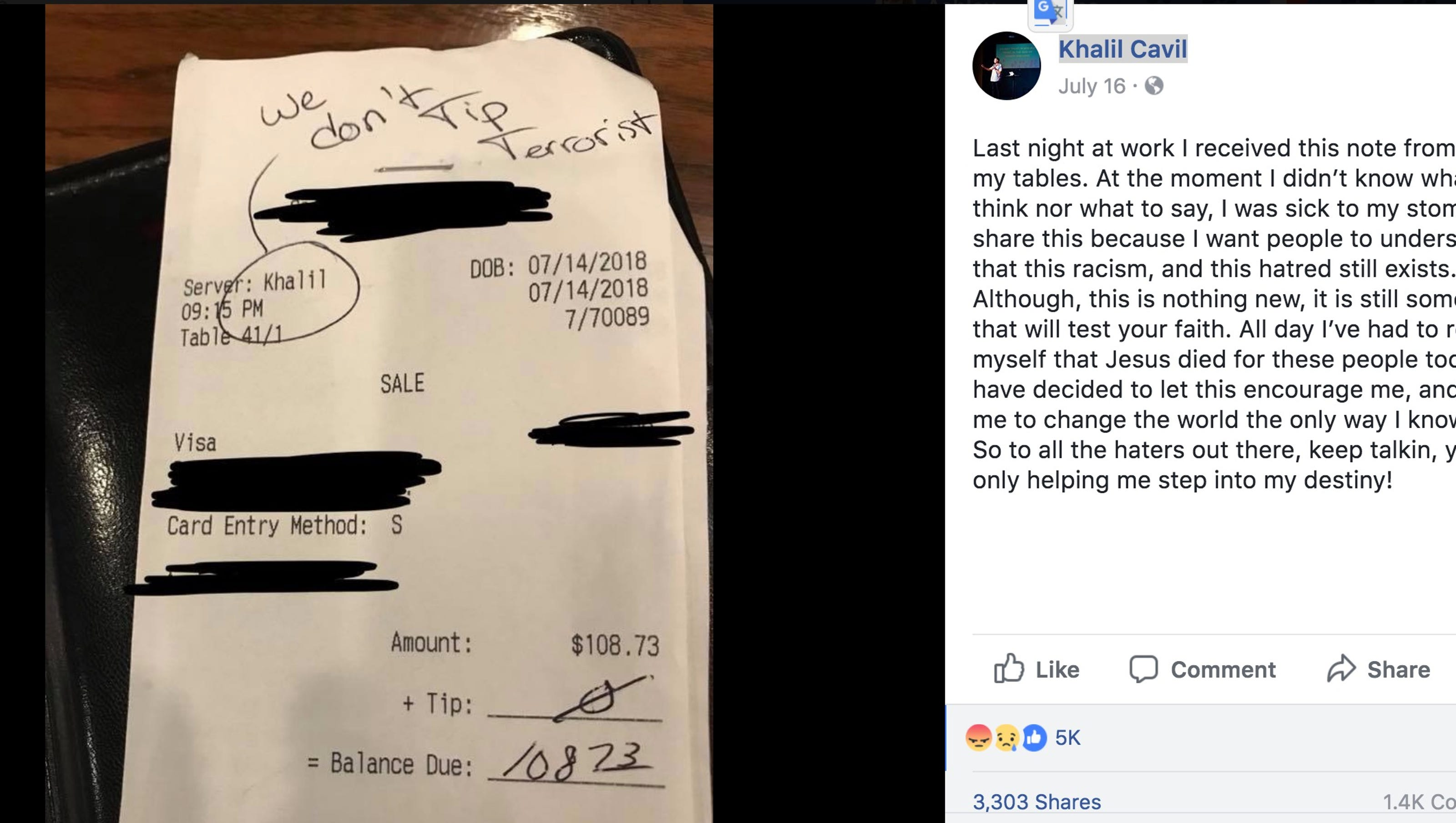 Customer who left racist 'we don't tip terrorist' message banned from Texas restaurant