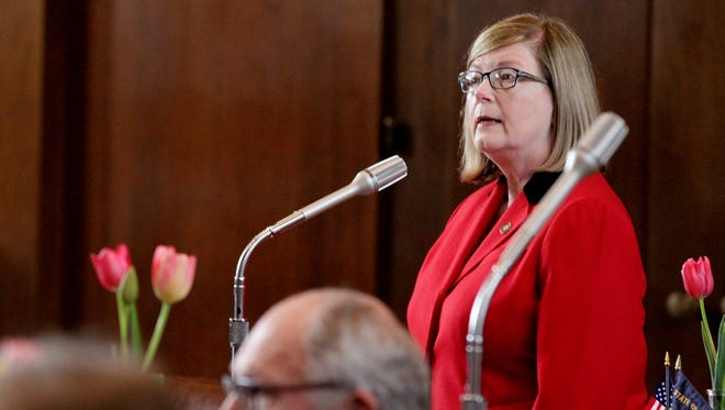 Sen. Diane Rosenbaum speaks during a Senate floor session at the Oregon State Capitol on  April 6.