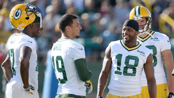 Receivers Davante Adams (17) Myles White (19), Randall Cobb (18) and Jeff Janis (83) at Green Bay Packers Training Camp at Ray Nitschke Field July 31, 2015.