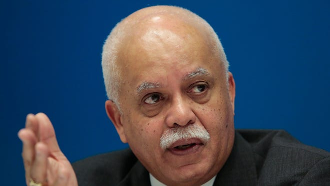 Wayne County Executive Warren Evans speaks about the Wayne County debt crisis with the Detroit Free Press editorial board on Feb. 5, 2015 at the Detroit Free Press office in downtown Detroit.