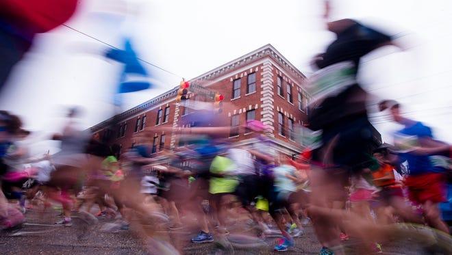 Runners start the Montgomery Marathon and Half Marathon on Saturday, March 14, 2015, in Montgomery, Ala.