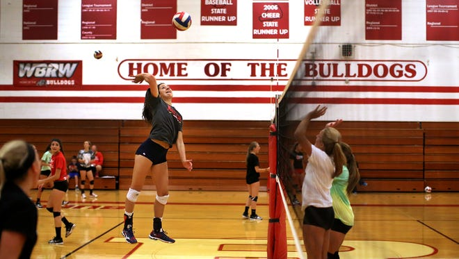 Gia Milana, who plays outside hitter for the Romeo Bulldogs varsity volleyball team, spikes the ball during practice at Romeo High School in Romeo on Aug. 12, 2015. The Bulldogs are defending state champions.