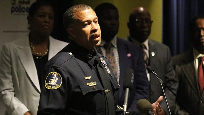 Detroit Police Chief James Craig speaks to the press about the benefits of police body cameras during a press conference at the Detroit Public Safety headquarters in Detroit on Tuesday, Aug. 18, 2015.