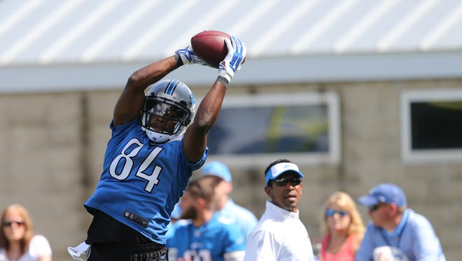Detroit Lions Ryan Broyles catches a pass during drills at training camp on Tuesday, August 4, 2015 at the practice facility in Allen Park MI.