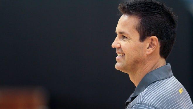 Iowa head coach Bond Shymansky watches his team practice at Carver-Hawkeye Arena on Friday, Aug. 21, 2015.