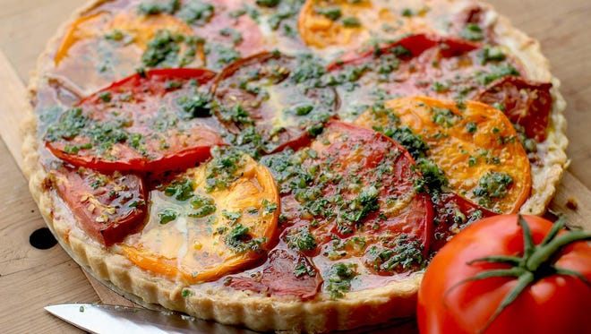 Summer's end tomato tart is a delicious way to use garden tomatoes.