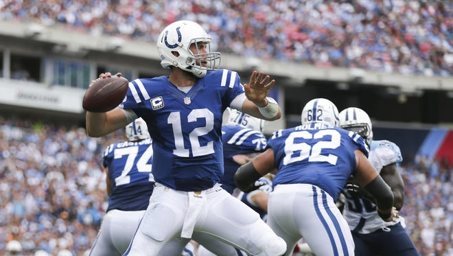 Indianapolis Colts quarterback Andrew Luck (12) drops back to pass in the second half of their game at  Nissan Stadium, Nashville, Tenn., Sunday, Sept. 27, 2015. Colts won 35-33.