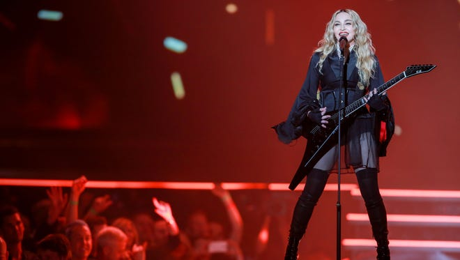 Madonna performs during her Rebel Heart tour at Joe Louis Arena in Detroit on Thursday, Oct. 1, 2015.