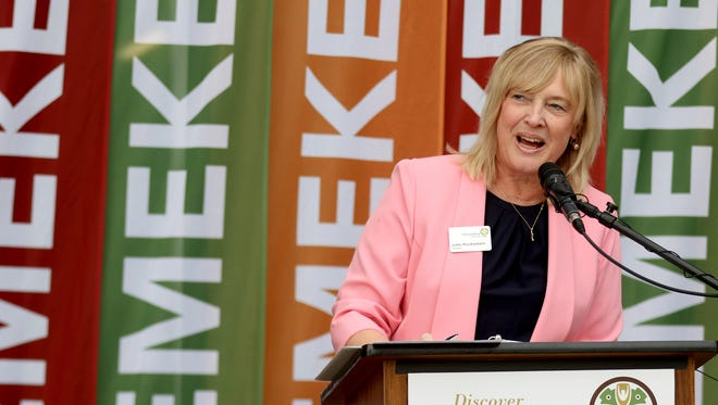 President of Chemeketa Community College Julie Huckestein speaks during the grand opening of the applied technology building at Chemeketa in Salem on Thursday, Oct. 8, 2015.