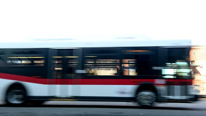 A Cherriots bus drives at the main bus terminal in downtown Salem on Tuesday, Nov. 3, 2015.