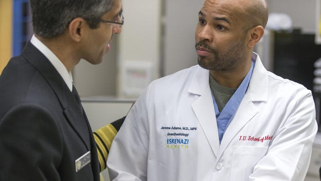 Indiana Health Commissioner Dr. Jerome Adams (right) met with U.S. Surgeon General Vivek Murthy in February 2015.