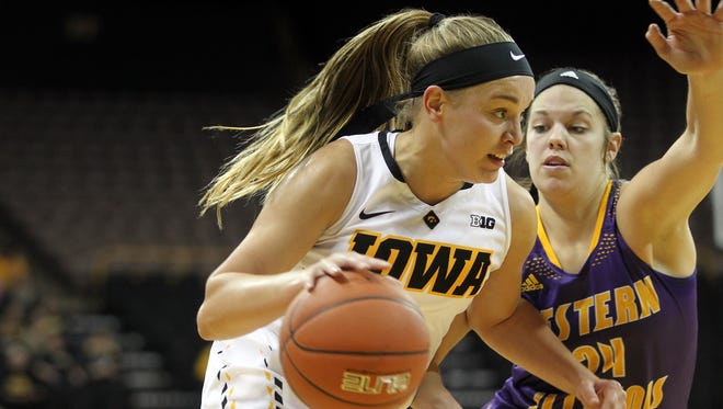 Iowa's Alexa Kastanek drives to the hoop during the Hawkeyes' game against Western Illinois at Carver-Hawkeye Arena on Thursday, Nov. 19, 2015.
