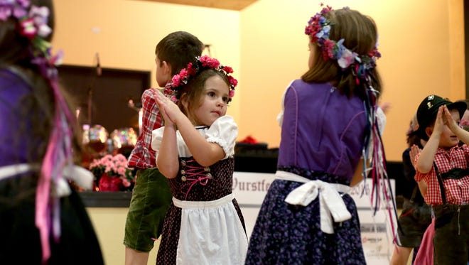 The Mt. Angel Kinder Dancers perform at the Mt. Angel Wurstfest in 2015. Mt. Angel schoolchildren also will perform at this year's event Feb. 5-6.