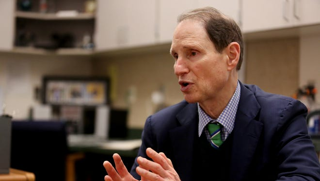 Sen. Ron Wyden speaks at Woodburn High School in Woodburn, Ore., on Friday, Jan. 15, 2016.