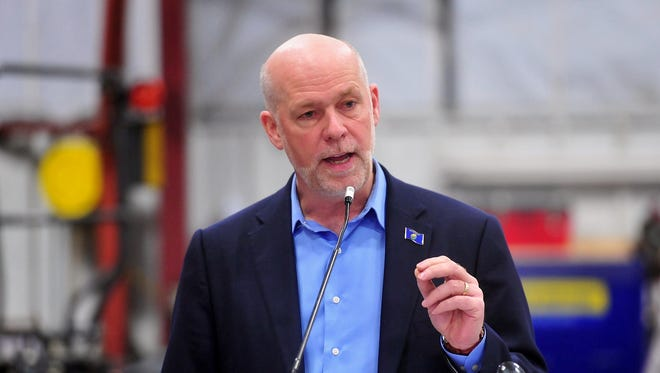Greg Gianforte delivers a speech at Hoven Equipment in Great Falls on Thursday morning while on a tour of Montana to his announce his candidacy for governor.